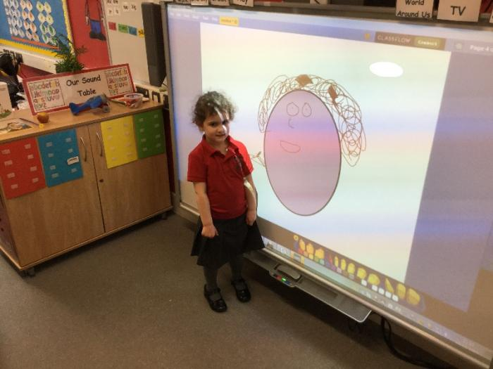 We drew pictures of ourselves on the Interactive Whiteboard!